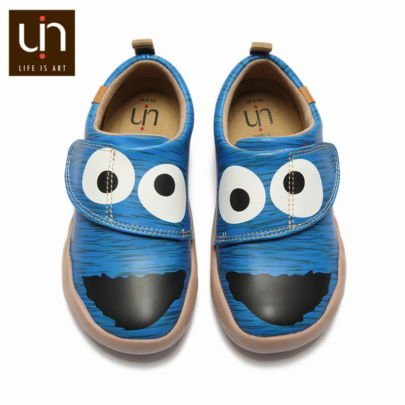 UIN Art Painted Lightweight Casual Shoes For Kids Microfiber Leather Shoes Hook & Loop Comfort Children Sneakers Autumn/Winter