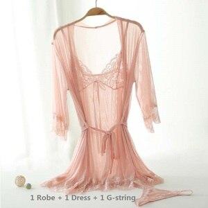 Image 3 - Ensemble pyjama Sexy 4 pièces pour femmes, chemise de nuit Chic en dentelle, vêtements de nuit pour poupées, vêtements de nuit + Robe de nuit + string + ceinture, vêtements de nuit