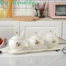 Nordic drawing golden swan ceramic seasoning pot with tray 3