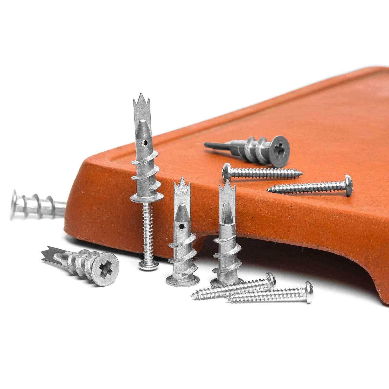 NINDEJIN 120 sztuk/zestaw śruby ze stopu cynku samowiercące płyty gipsowo-kartonowe kotwy z wydrążonymi ściankami M4.2 śruba gwintująca zestaw ze schowkiem