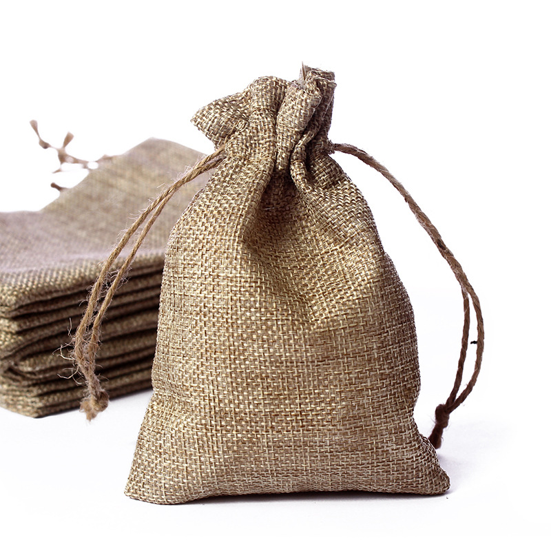 New Brand Vintage Natural Burlap Gift Bags Hessia Candy Gift Bags Wedding Party Favor Pouch Jute Gift Bags 10x14cm