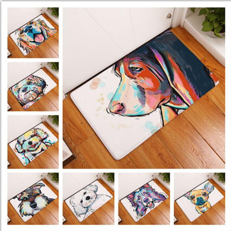 Kawaii Animal Welcome Floor Mats Animal Dog Printed Bathroom Kitchen Carpets Doormats Floor Mat For Living Room Anti-slip Tapete image