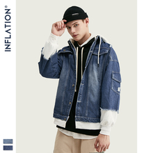 INFLATION 2019 False Two Piece Denim Jacket In Blue Mens Hooded 2pcs/set Jean Cloth Streetwear For Autumn 8750W