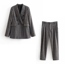Autumn women's pants suit Casual temperament double-breasted