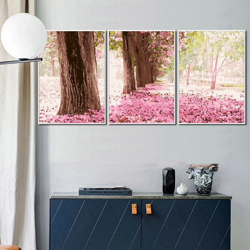 GATYZTORY 3PC Frame Painting By Numbers Modern Home Wall Art Picture Cherry Blossom Tree Paint By Numbers For Home Decors