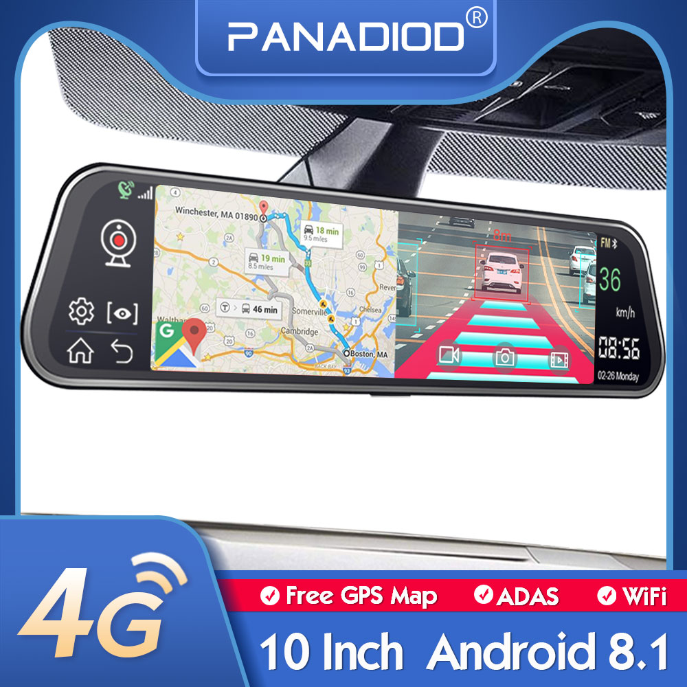 4G cámara de salpicadero 10 pulgadas espejo retrovisor para coche ADAS Android 8,1 FHD para Auto Recorder GPS navegación mapa gratuito actualización WiFi coche DVR Cámara DVR para coche    - AliExpress