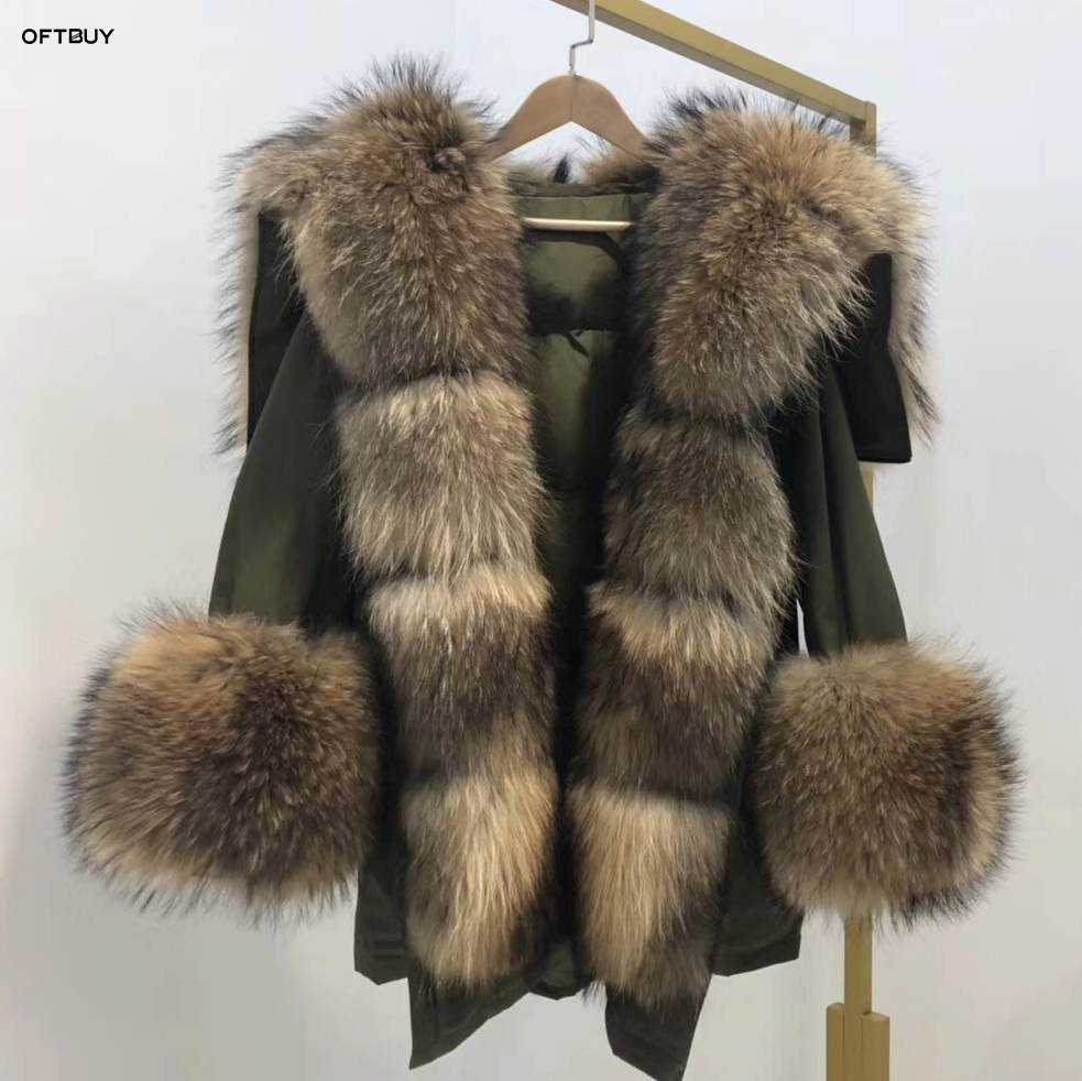 2019 Winter Jacket Women Real Fur Coat Big Natural Raccoon Fur Collar Long Parka White Duck Down Jacket Streetwear Korea Fashion