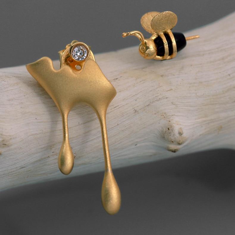 Réel 925 argent Sterling miel et abeille asymétrique boucles d'oreilles pour les femmes bijoux Brincos
