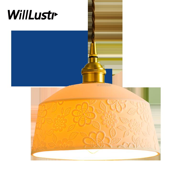 Art Deco Ceramic Flower Pendant Lamp Copper Suspension Light Hotel Restaurant Bedroom Study Cafe Bar Porcelain Handmade Lighting