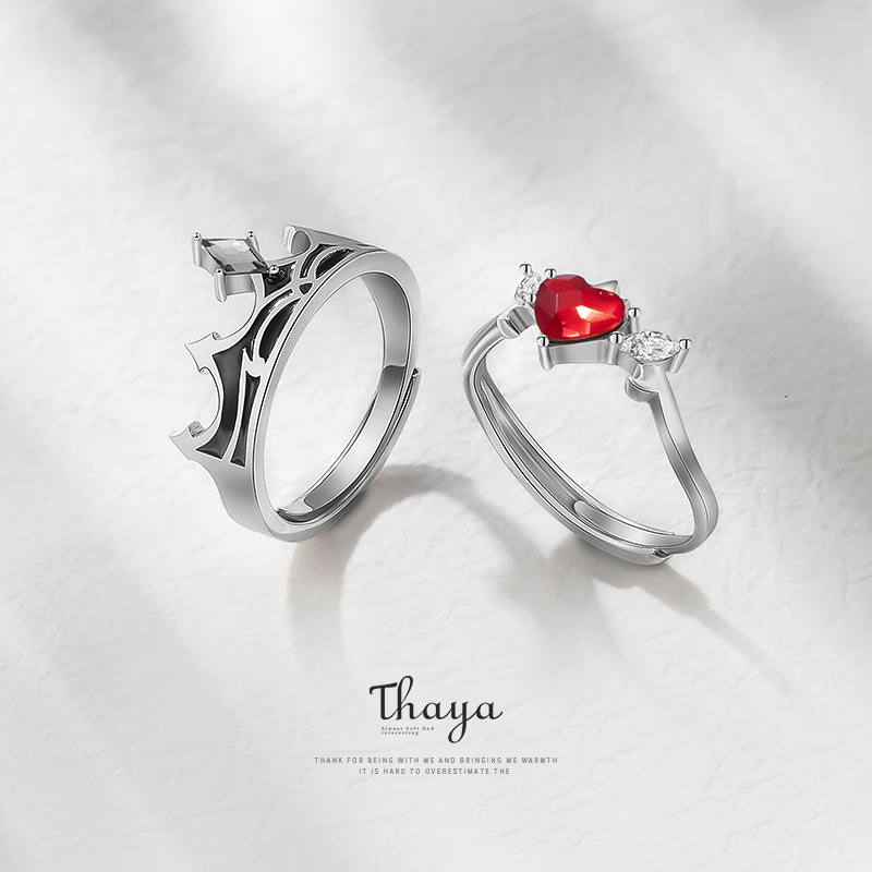 Fairy Tales Series Thaya S925 Real 925 Sterling Silver Red Cubic Zircon Adjustable Couple Rings For Women Girl Luxury Jewelry