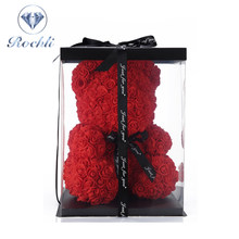40cm Valentines Day Gift Red Rose Teddy Bear Rose Flower Artificial Decoration Christmas Gifts Women Valentines Gift