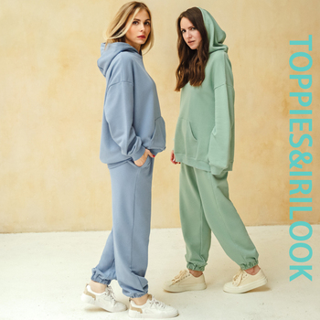 Toppies 2021 Women Hoodies and Sweatpants White Tracksuits Female Two Piece Solid Color Pullovers Jacket Lounge Wear 1