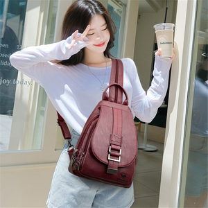Image 3 - New Women Belt Casual Backpack Soft Genuine Leather Backpack Fashion Kangaroo print School Bags For Teenage Girls Mochila Sac