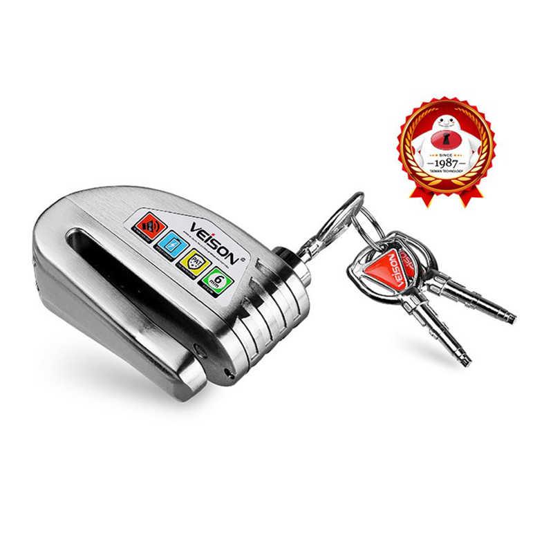 VEISON Motor Tahan Air Alarm Kunci Sepeda Steelmate Kunci Cakram Peringatan Keamanan Anti Pencurian Rotor Rem Gembok Alarma Moto
