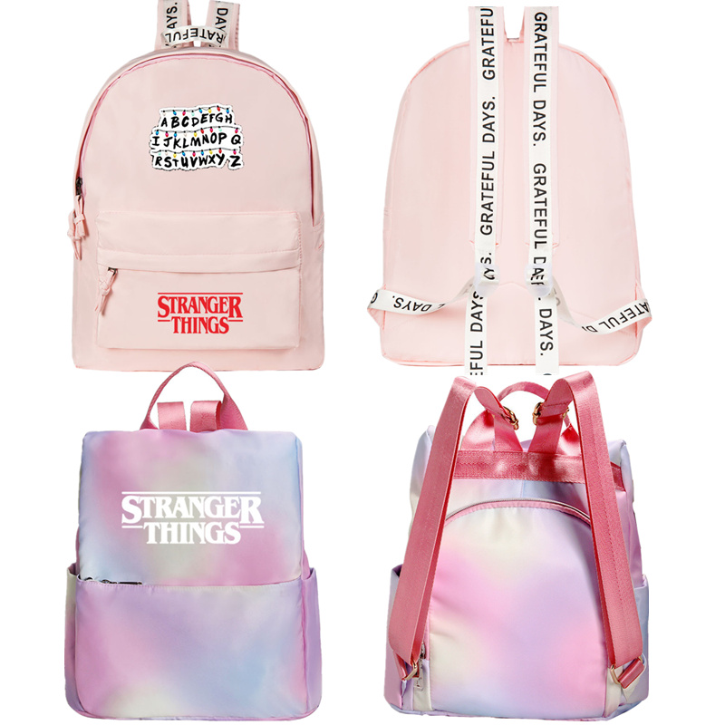 Stranger Things Backpack Canvas Bag Pink Cute Travel Bags Girl Notebook Bags Teenage Schoolbag Cosplay Fashion Casual Canvas Bag