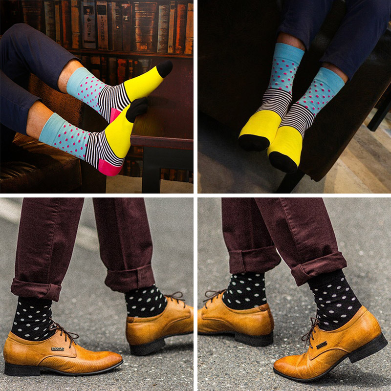 Downstairs Classical Dot Stripe Harajuku Happy Socks Men British Style Streetwear Hip Hop Crew Long Calcetines For Men Gift