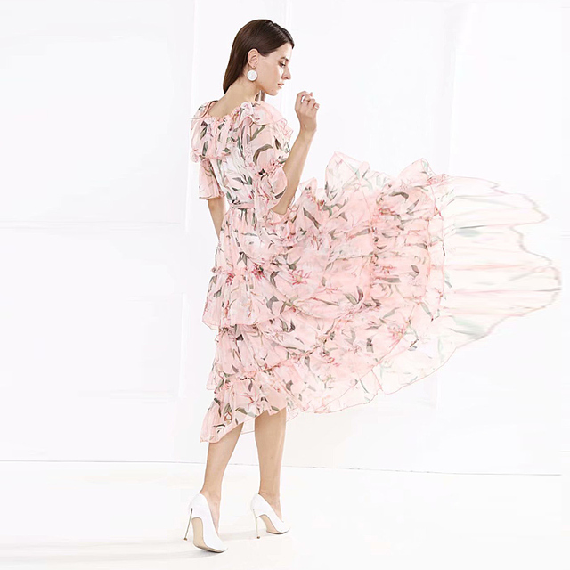 Plus Size Spring Summer New WomenS Fashion High Quality Party Casual Sexy Beach Boho Vintage Elegant Chic Print Chiffon Dress