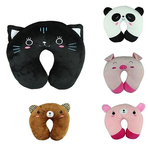 Cute Cartoon Animals U Shaped Pillow Travel Car Neck Rest Pillow Support Head Rest Cushion Panda Cat Bear Rabbit Pig