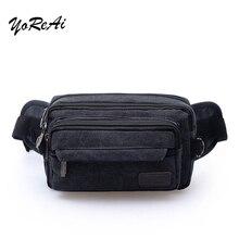 YoReAi Men's Canvas Belt Bag Casual Running Jogging Multi-purpose Zipper Messenger Shoulder Bags Belt Hip Bum Waist Fanny Pack