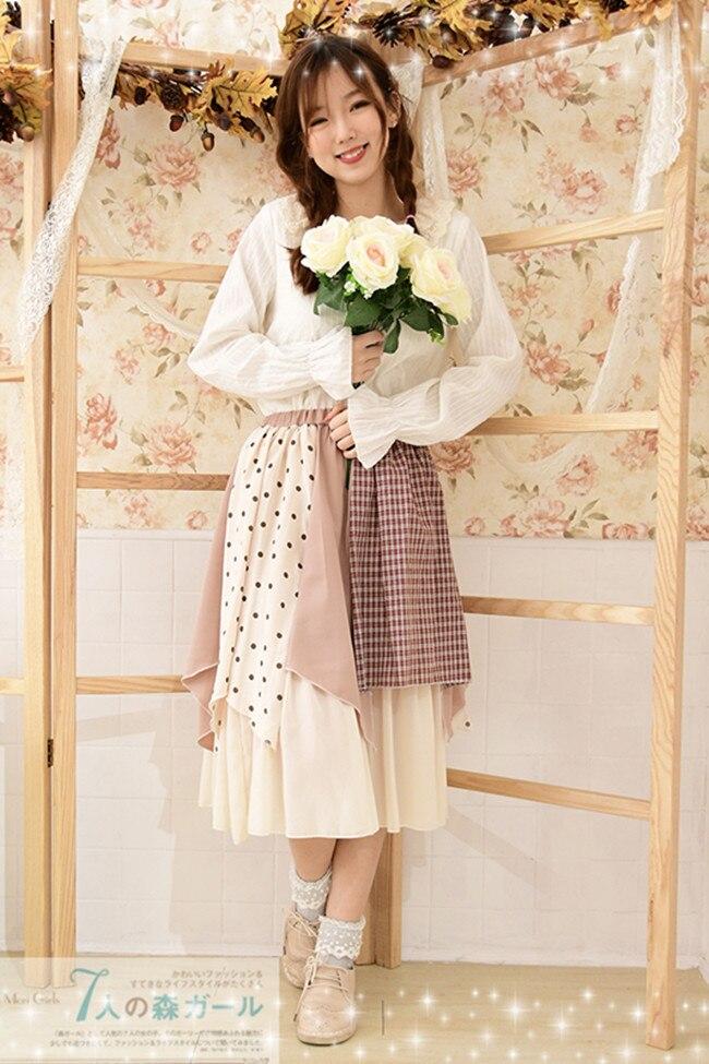 Japonais Mori fille Hippie Boho Vintage rétro Plaid à pois coton lin mousseline de soie Patchwork Double couche femmes automne automne jupe