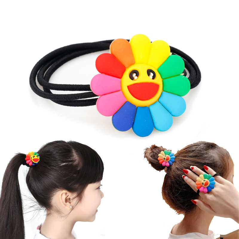 Girl Women Elastic Hair Bands Sunflower Hair Accessories Gum for Hair ponytail Rubber Band