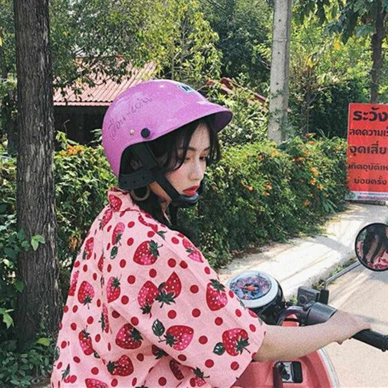 Harajuku bluse frauen kleidung Sommer shirts Korea neue erdbeere druck lose mode Ulzzang niedliche t-shirt kawaii drehen-unten Kragen