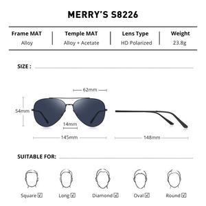 Image 4 - MERRYS 디자인 남자 클래식 파일럿 선글라스 CR39 HD 편광 렌즈 망 안경 운전 UV400 보호 S8226