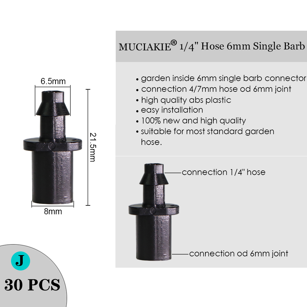 H35fce03ff3f045698746184b98f69632n MUCIAKIE Sprinkler Irrigation 1/4 Inch Barb Tee Single Double Barb Barbed Water Pipe Connectors For 4/7mm Hose Garden Fitting