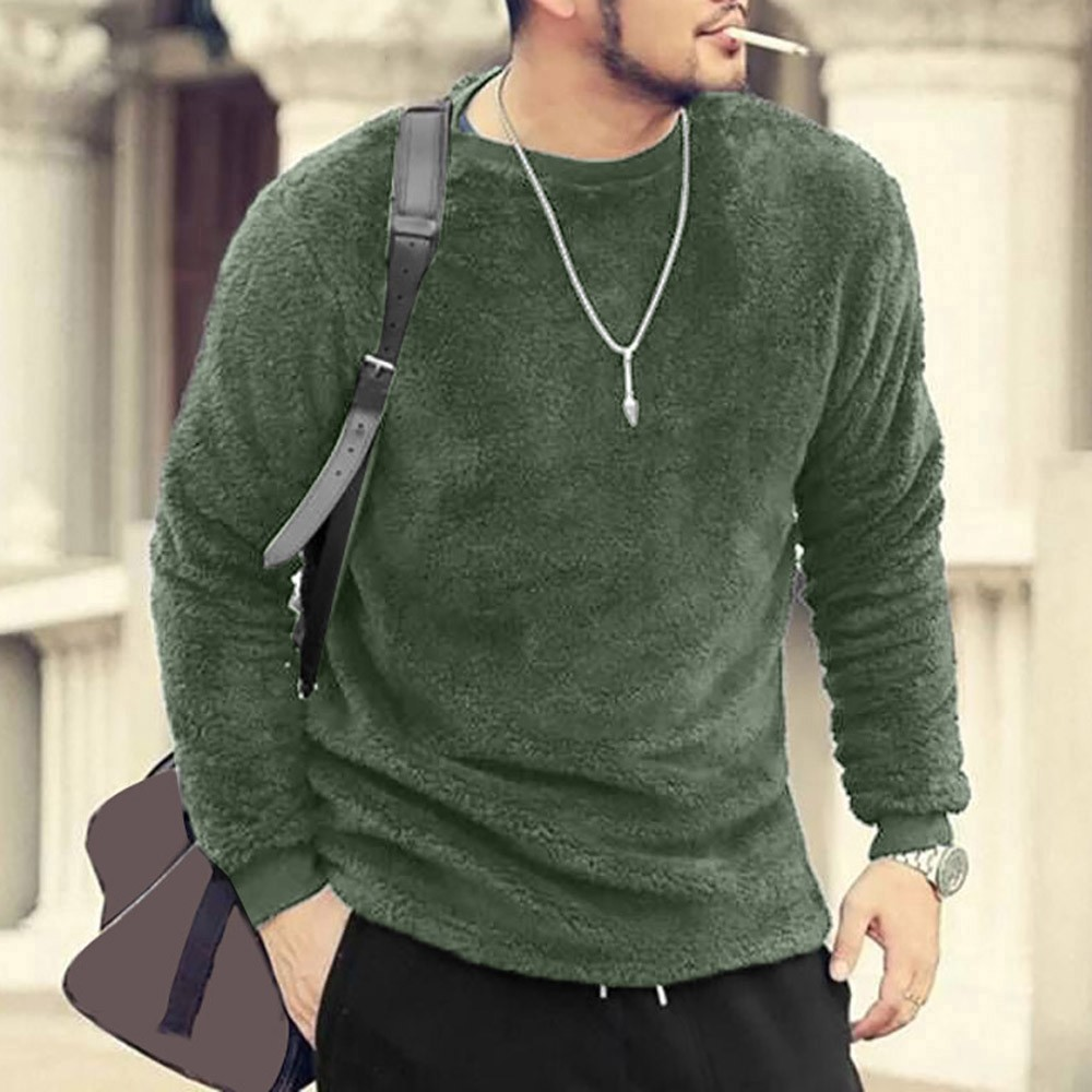 Men Pullover Sweatshirt Blouses Plush-Tops Long-Sleeve Basic Fleece Winter Casual O-Neck title=