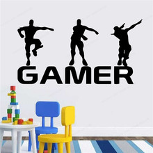 gamer wall decal boys room decoration removable wall art mural gaming wall sticker vinyl JH356 недорого