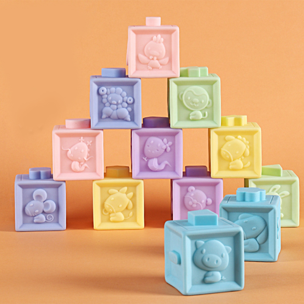 New 12Pcs Baby Educational Building Block Toddler Teething Chewing Squeeze Stackable Bath Toy Numbers Shape Matching Game