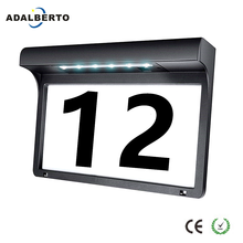 LED House Number Door Plate Solar Light Wireless Address Sign Solar Powered Lamp Outdoor Plaque Lighting For Home Yard Street