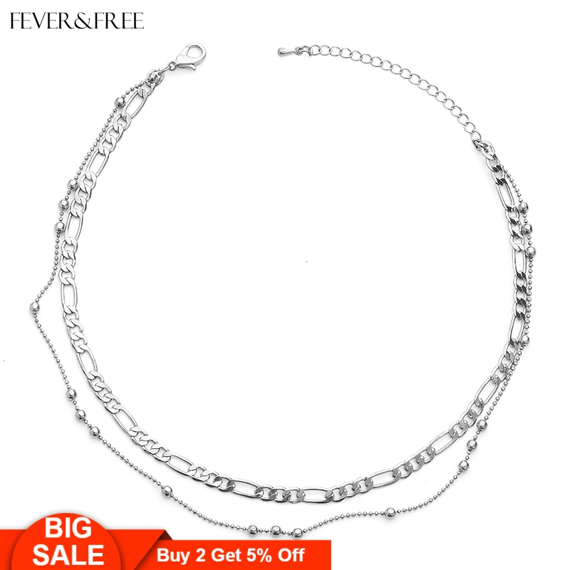 Fever&Free Dainty Jewelry Collar Round Alloy Necklace Sexy Female Beach Choker Pendants Colar Feminino Wholesale