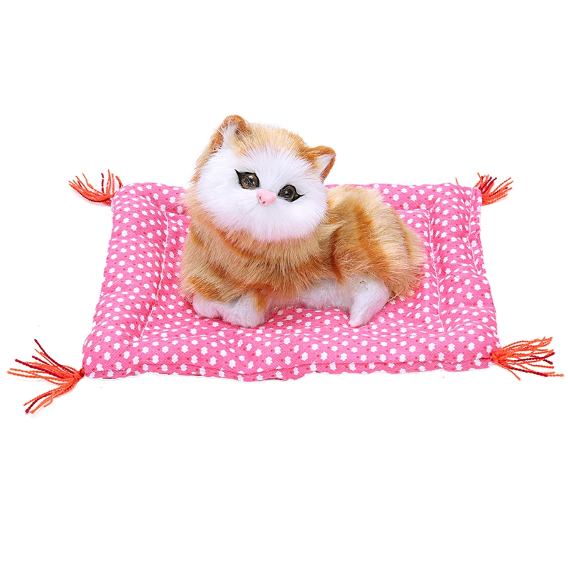 Cute Simulation Cat Toys With Sound Kittens Cat Toys Doll Plush Toys Gifts For Kids Boys Girls (Yellow Cat)