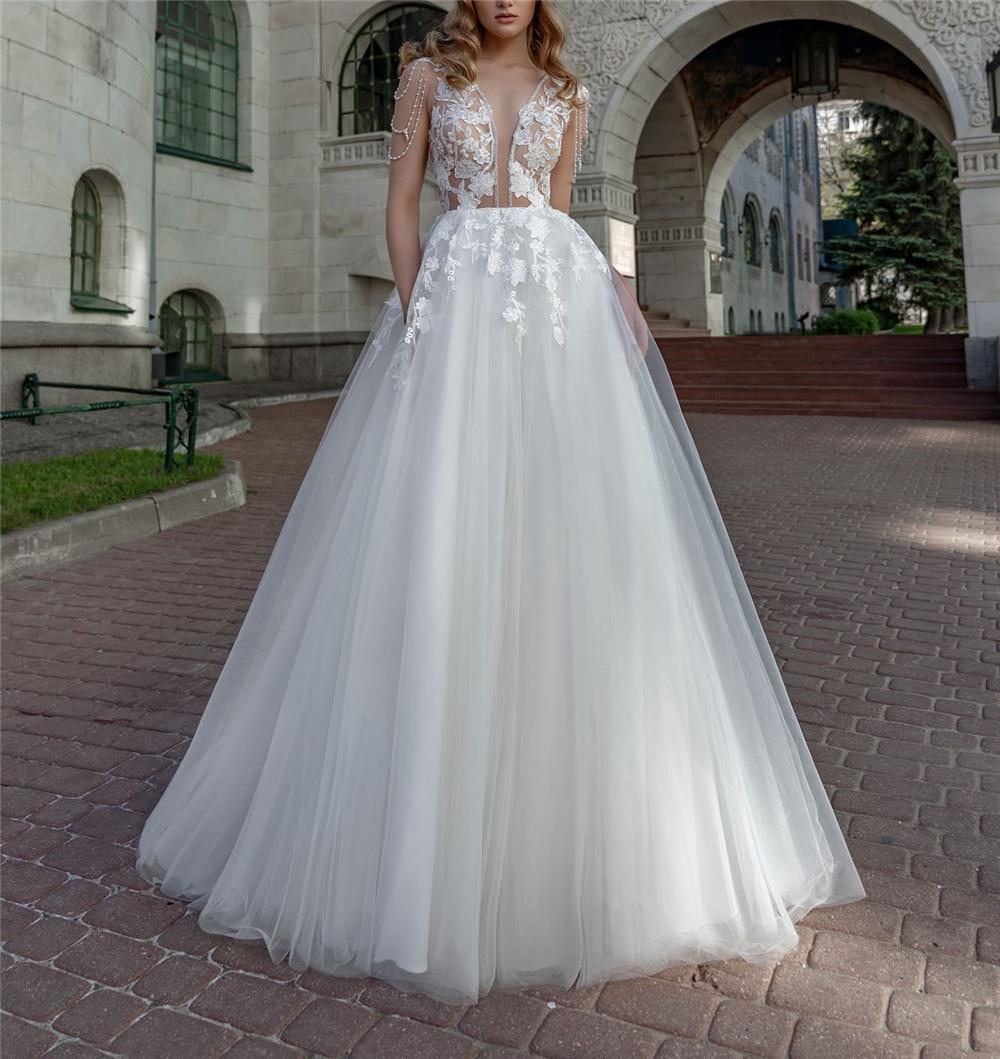 Romantic White Sexy Deep V-Neck Wedding Gowns Cap Sleeves Tulle Pearls Beading Custo-Made Princess Empire Vestidos De Novia 2020