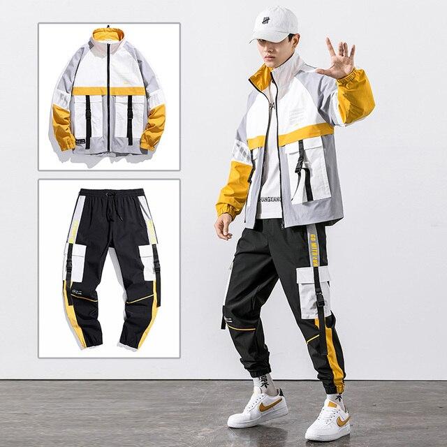 2021 Hip Hop Workwear jacket Mens Tracksuit Jacket+Pants 2PC Sets baseball loose Zipper Ribbons Coat & Long Pants Mens Clothing 4