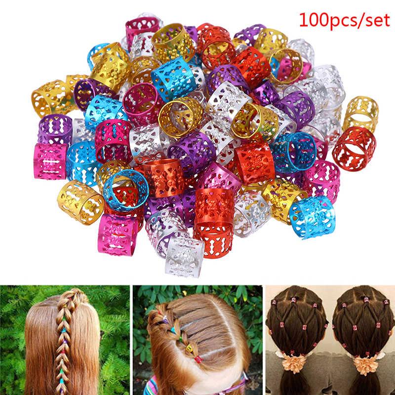 100 adet karışık boncuk saç halkaları manşet ayarlanabilir saç örgüler Dreadlock boncuk saç örgü yüzük manşet klipleri tüpler takı 6 renkler