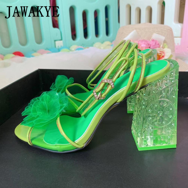 Pink-Flower-Jelly-Sandals-Plus-Size-Ladies-Weeding-Shoes-Bridal-Transparent-High-Heels