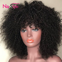 Afro Kinky Curly Wig With Bangs Deep Part 13x6 Lace Front Human Hair Wigs For Black Women Short Human Hair Wigs Bob Mongolian