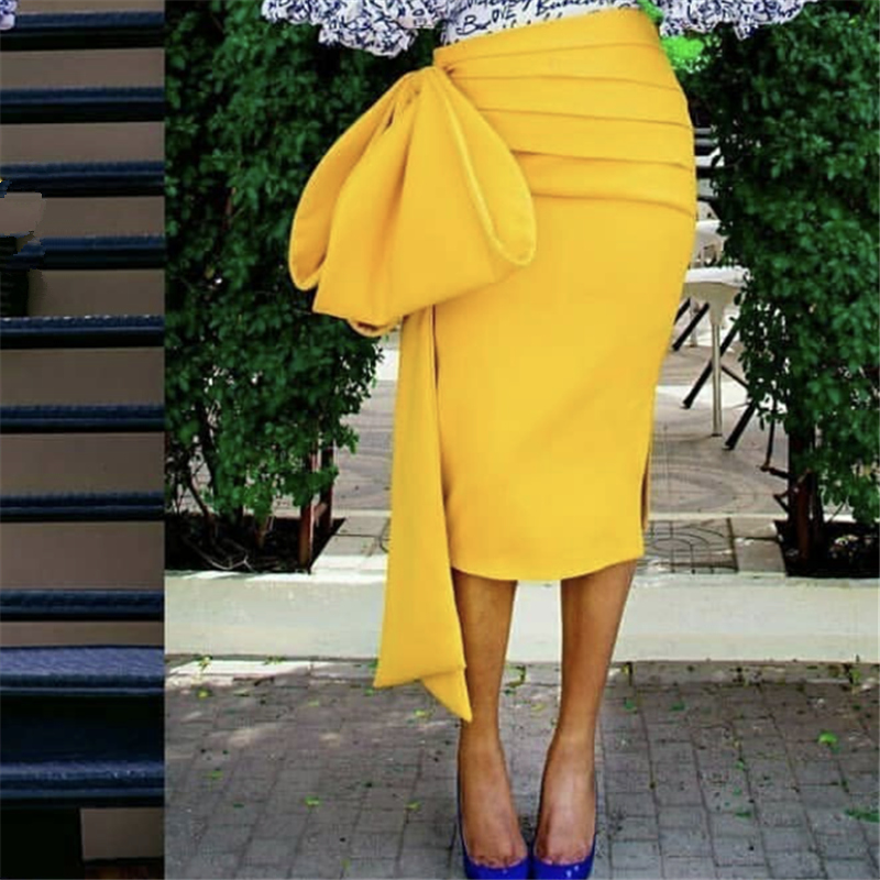 2020 New Stylish Yellow Pencil Skirt High Waist Pleated Slim Skirts with Big Bow Tie Womens Club Night Party Wear Elegant Office image