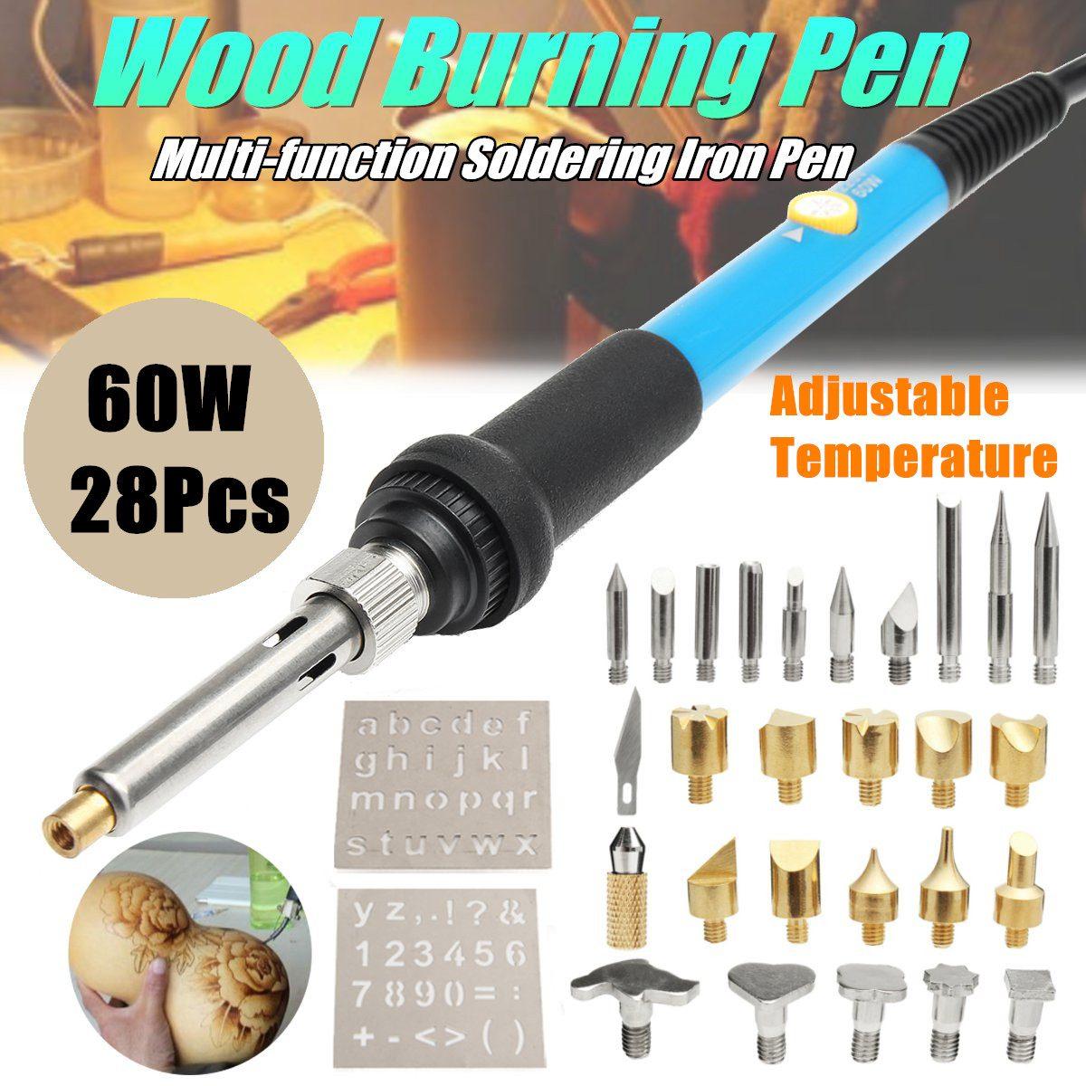 110V 60W 28Pcs Electric Soldering Iron Tools Set Temperature Adjust Wood Burning Pyrography Engrave Solder Tool Kit Brass + Tips