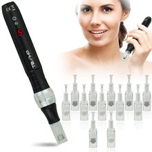 TBPHP P10 Derma Pen Microneedling Pen with LCD Display|Wireless silent and durable|With 12 pcs Microneedle Cartridges(Black)