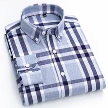 Degli uomini 100% Cotone Spazzolato Flanella Plaid A Scacchi Camicia A Maniche Lunghe Pulsante Standard fit Confortevole Caldo Casual collare camicette