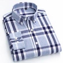 Męska 100% bawełna szczotkowana flanelowa Plaid koszula w kratę z długim rękawem standardowy krój wygodne ciepłe Casual koszule kołnierzykowe