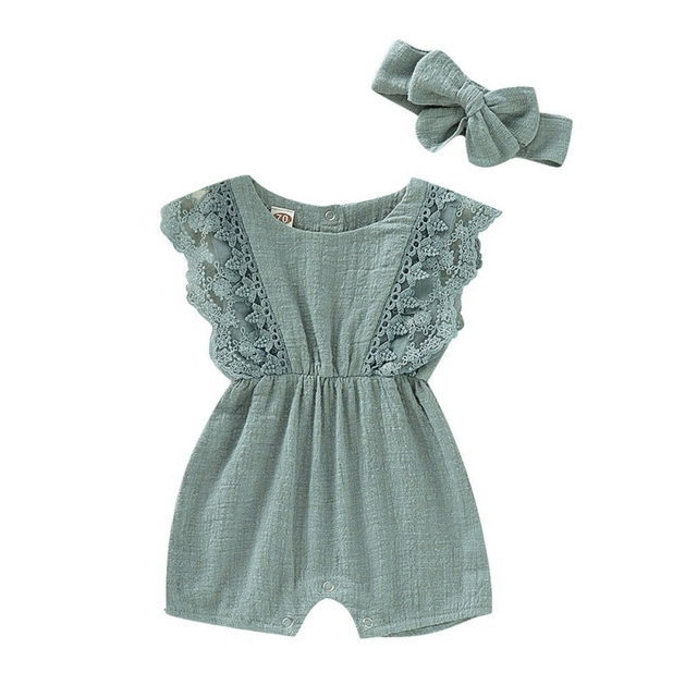 Summer Baby Girl Rompers Newborn Baby Clothes Toddler Flare Sleeve Solid Lace Design Romper Jumpsuit With Headband One-Pieces 1