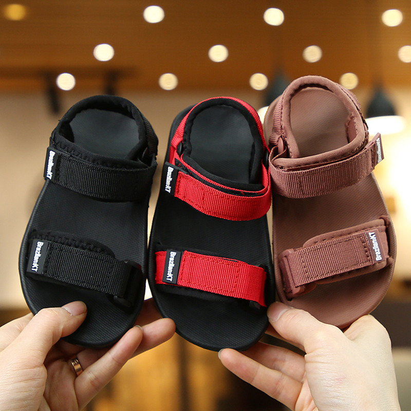 ULKNN Kids Sandals Boys Kid Beach Sandal Soft-sole Korean-style Parent Sandalia Grils Red Black Shoe Boy Summer  New Arrival
