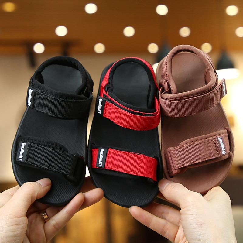ULKNN Kids Sandals Boys Kid Beach Sandal Soft-sole Korean-style Parent Sandalia Grils Red Black Shoe Boy Summer  New Arrival