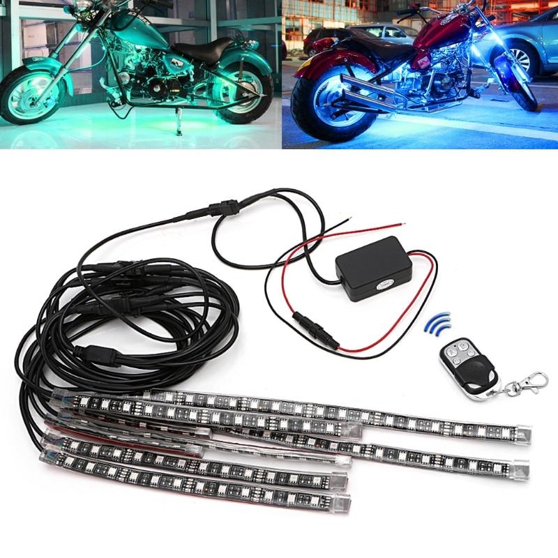 8 Pcs 5050 SMD Strip Flexible RGB Flashing Light LED Remote Control Motorcycle