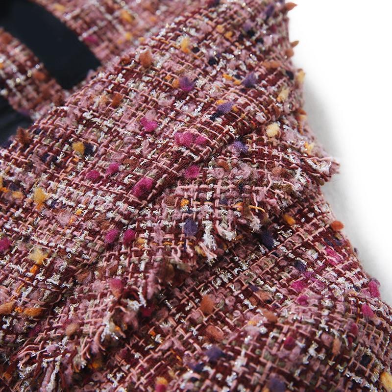 2020 Spring Autumn Vintage Plaid Tweed Long Blazer Jacket Women Tassel Suit Coat Female Outwear Tops Office Blazers Feminino