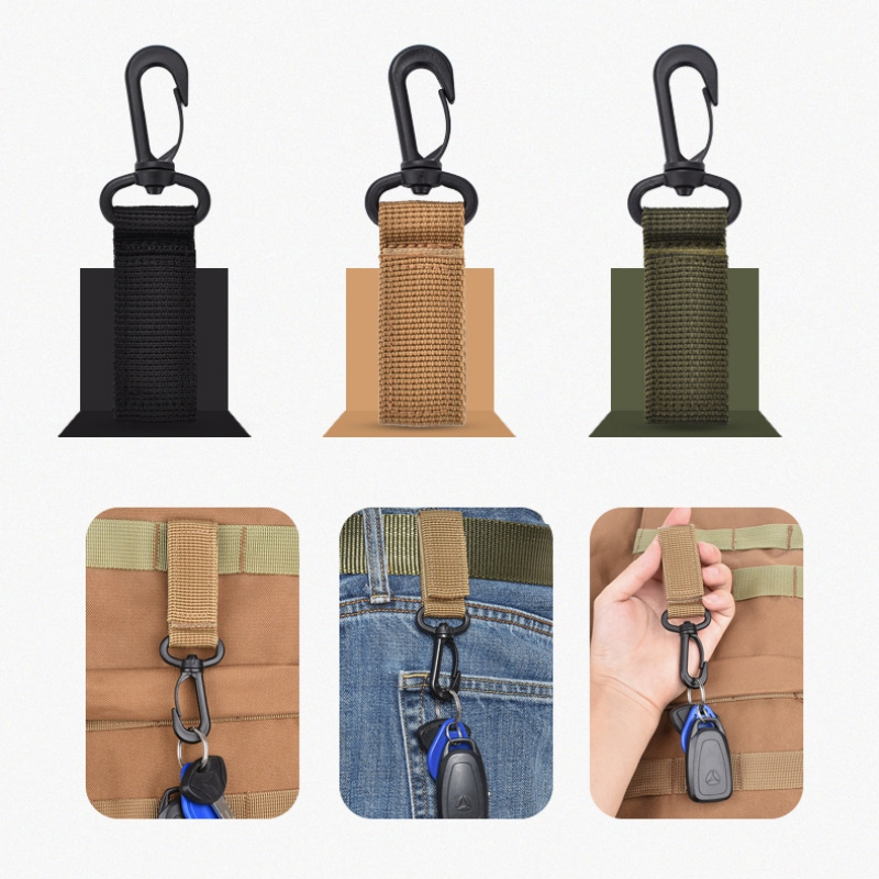 Outdoor Tools Tactical Molle Webbing Buckle Climbing Belt Swivel Carabiner Clip Hunting Camping Hanging Backpack Key Hook